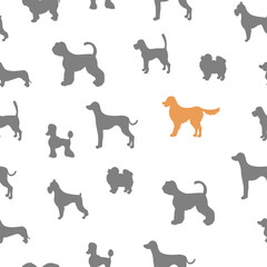 Unusual seamless pattern with dog silhouettes.  Set of  different breeds.