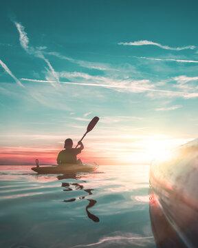 side view on kayak and on kayaker