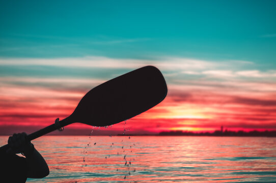 silhouette of a paddle with drpping water
