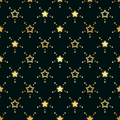 Golden Stars Seamless Pattern. The vector image. Gold Starry night sky