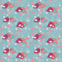 Seamless festive pattern with flowers and birds