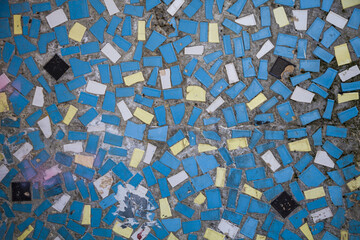 Wall with blue mosaic