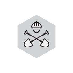 Civil engineering emblem. Digger icon. Label with shovels and hard hat. Civil engineering illustration.