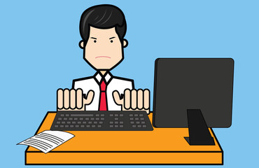 Businessman sitting with computer