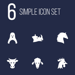 Set Of 6 Alive Icons Set.Collection Of Diver, Lamb, Rhinoceros And Other Elements.