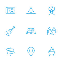 Set Of 9 Picnic Outline Icons Set.Collection Of Shelter, Encampment, Photographing And Other Elements.