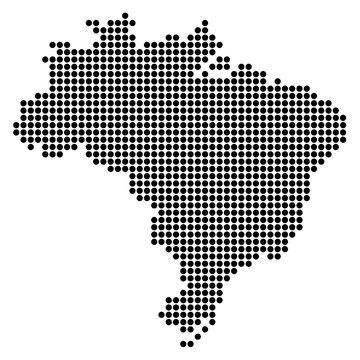 Точечная карта Бразилии.Черно-белая векторная иллюстрация.