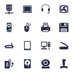 Set Of 16 Computer Icons Set.Collection Of Headset, Router, Amplifier And Other Elements.