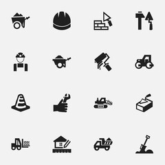 Set Of 16 Editable Construction Icons. Includes Symbols Such As Scrub, Oar, Mule And More. Can Be Used For Web, Mobile, UI And Infographic Design.