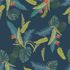 Palm leaves and flowers. Tropical print. Vector seamless pattern. Fashion design.