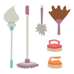 Cleanser brush chemical housework product care wash equipment cleaning liquid flat vector illustration.