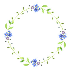 Watercolor wreath. Blue forget-me-nots with green leaves on white background. Can be used as wedding invitations, print, your banner or Postcards for Valentine's Day. Pink tape.