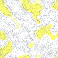 Seamless pattern. Fictional topo contour map design. Vector. Geography concept. Abstract wavy graphic backdrop. Cartography and topology. Line topographic contour map background. Yellow and gray.