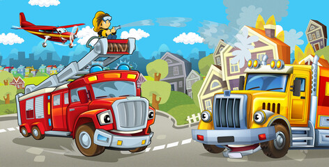 Cartoon stage with fire fighter and his vehicle in front of happy cargo truck colorful and cheerful scene