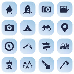 Set Of 16 Picnic Icons Set.Collection Of Jackknife, Optical Zoom, Camp And Other Elements.