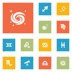 Set Of 12 Astrology Icons Set.Collection Of Comet, Scales, Space And Other Elements.