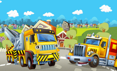 Cartoon tow and cargo trucks - illustration for children