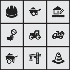 Set Of 9 Editable Construction Icons. Includes Symbols Such As Hardhat, Endurance, Notice Object And More. Can Be Used For Web, Mobile, UI And Infographic Design.