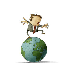Businessman on top of the world ball