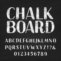 Chalk board alphabet font. Hand drawn letters, numbers and symbols. Vintage vector typeface for your design. Distressed background.