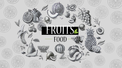 Organic food. Fresh fruits. Pencil drawing.