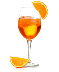 spritz cocktail in a wineglass garnished with orange slice