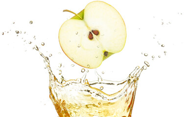 half apple falling in splashing juice isolated on white