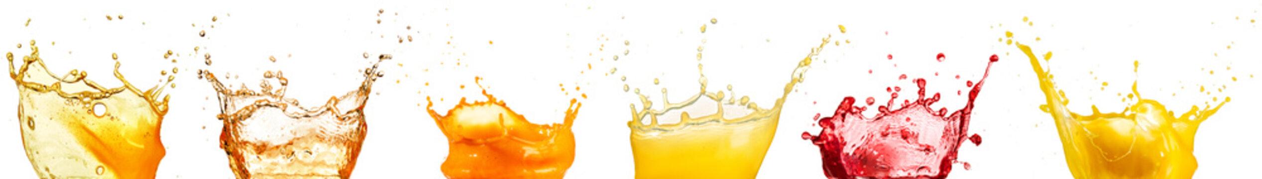 fruit juice splash collection isolated on white