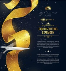 Grand opening vertical banner. Text with confetti and curving ribbon. Gold sparkles.  Elegant style. Vector Illustration