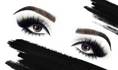 Make up. Woman eyes and place for text. Fashion illustration. Watercolor painting