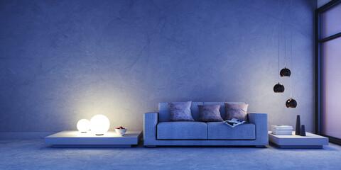 Sofa Vor Steinwand In Nachtstimmung