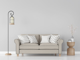 Modern vintage living room interior 3d rendering Image.There are minimalist style image ,gray empty wall and light brown sofa