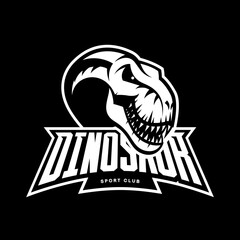Dinosaur head sport club vector logo concept isolated on black background. Modern team badge mascot design.