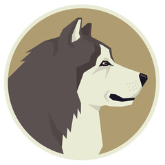 Dog collection Alaskan Malamute Geometric style Avatar icon round