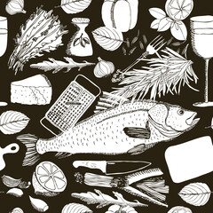 Illustration with fish and wine Hand drawing style