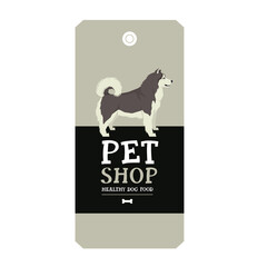 Poster Pet Shop Design label Alaskan Malamute Geometric style