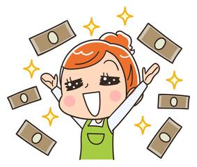 お金と女性のイラスト