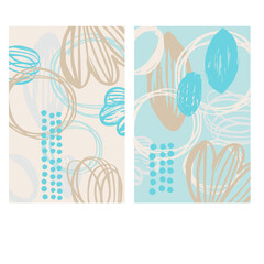 Abstract vector cards with hand drawn elements. Graphic Design for card, invitation,  poster, cover.