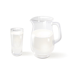 Milk in a Glass Jug and a Glass