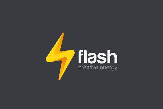 Flash thunderbolt Energy Power Logo design vector