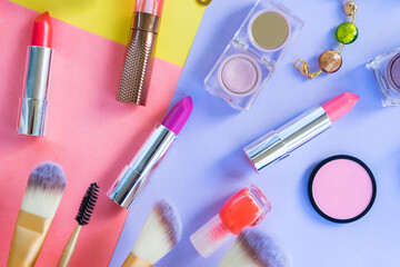 Colorful make up products material design flat lay scene