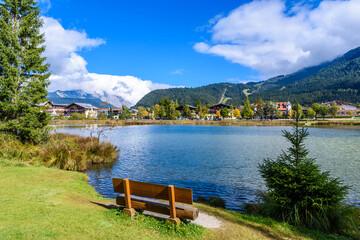 Relaxing at Lake Wildsee at Seefeld in Tirol, Austria - Europe