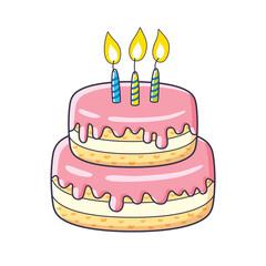 Birthday cake isolated.