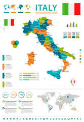Italy - map and flag - infographic illustration