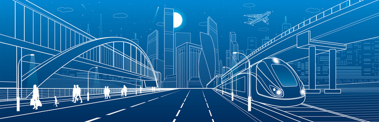 Pedestrian bridge across the highway. People walking. Road overpass. Train rides. Urban infrastructure, modern city on background, industrial architecture. White lines illustration, vector design art