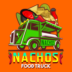 Food truck logotype for Mexican nachos chili pepper fast delivery service or summer food festival. Truck van with nachos an chili pepper advertise ads vector logo