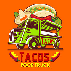 Food truck logotype for taco Mexican meal fast delivery service or summer food festival. Truck van with Mexican food advertise ads vector logo