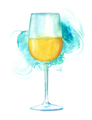 Watercolor drawing of glass of wine with teal brush stroke