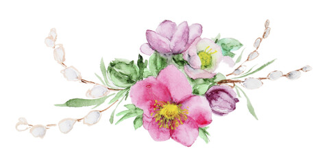 Bouquet of watercolor flowers