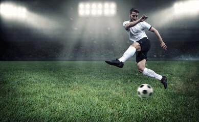 Fußballer beim Torschießen